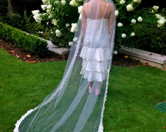 Scalloped Vintage Lace Handmade Chapel Length Veil