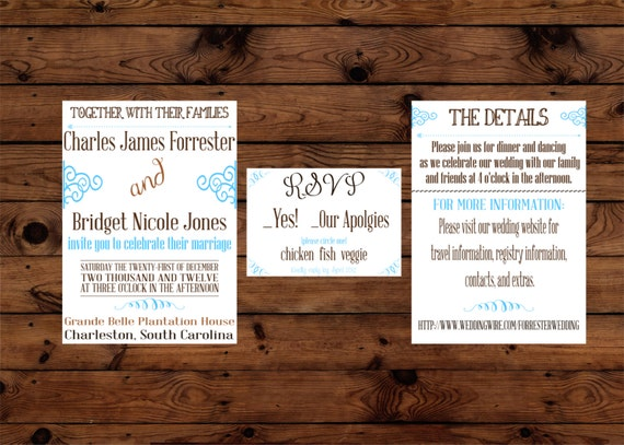 Turquoise And Brown Wedding Invitations: Printable Turquoise And Brown Arrow Wedding By SuzesCreations
