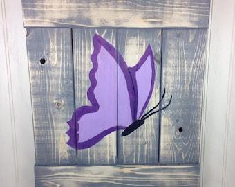 Purple Butterfly Rustic Pallet Art Wall Art Decor