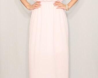 Pale pink dress Bridesmaid dress Long chiffon dress Party dress Keyhole dress