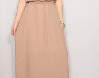 Light brown dress Long dress bridesmaid dress Chiffon dress Party dress