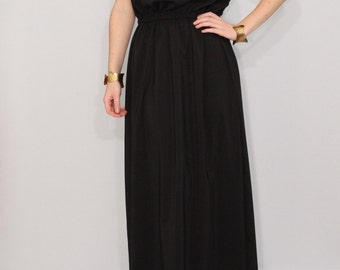 Black bridesmaid dress Long chiffon dress Prom dress Keyhole dress