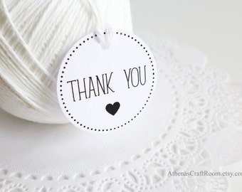 Thank You Gift Tags, White Round Gift Tags, Thank You Heart, Party Favors, Bridal Shower Tags, Baby Shower Thak you Tags