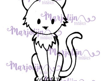 Cute Cat instant download digi stamp