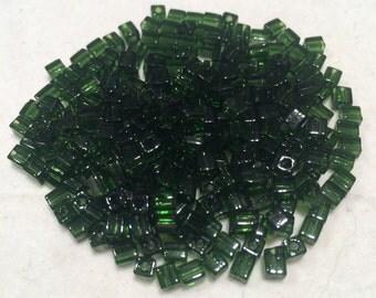 Miyuki Cube Beads, 4mm, Transparent Olive, SB-158, 20 Grams, Japanese Glass
