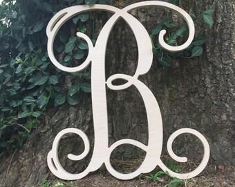 "SALE Wooden Monogram Letter- Single Vine 12"" -- 4.99 !!!!"