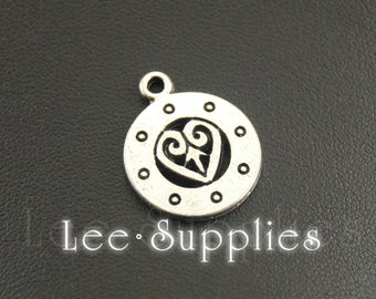 10pcs Antique Silver Alloy Round Metal Charms Love Hearts Pendant A1273