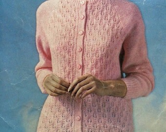 Vintage knitting pattern for lacy raglan jacket, with plain three-quarter sleeve
