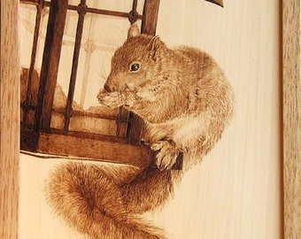 Squirrel on the Bird Feeder Woodburning Art