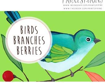 Bird Graphic | Bird Clipart Set | Green Bird Clip Art Elements | Digital Download Graphics | Printable Bird Art | Hand Painted Clipart Set