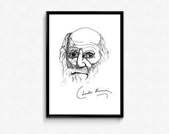 Darwin Art Print - Scientist Charles Darwin Portrait Ink Drawing - Science Poster ( Evolution, Biology) - Wall Decor