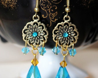 Light Blue and Yellow Chandelier Earrings