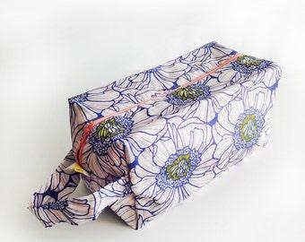 Boxy Bag Knitting Project Bag - Blue & Pink