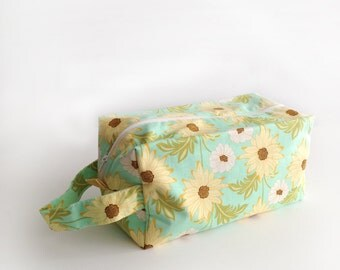 Boxy Bag Knitting Project Bag - Yellow Flower