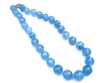 Handmade blue Chalcedony necklace earrings set hand knotted