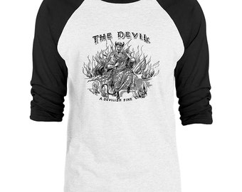 Mintage The Devil Vintage Advert 3/4-Sleeve Raglan Baseball T-Shirt