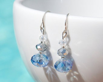Blue Beaded Earrings, Swarovski