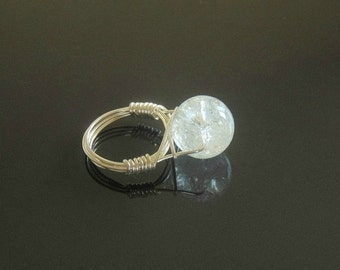 Wire wrapped rings, wire wrapped crystal, silver rings, crystal ring, ring wire wrap, silver jewelry, crystal jewelry, wedding ring