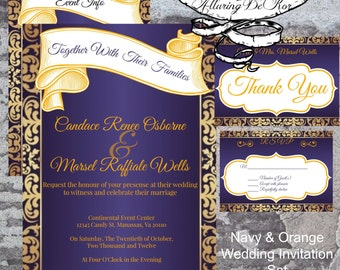 Navy & Orange Wedding Invitation Set