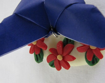 Blue Origami Butterfly with Red Sparkle Flowers Sculpey Decoration