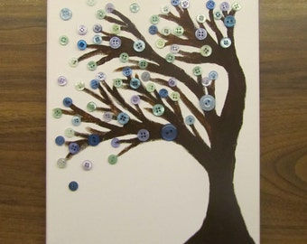 Button art tree canvas wall art 30 x 40cm personalised colours