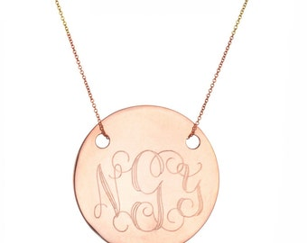 """Engraved 1"""" Monogram necklace - personalize gold monogram necklace 18k rose gold plated 925 silver"""