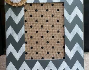 Gray and White Hand painted, Chevron, Burlap Picture Frame