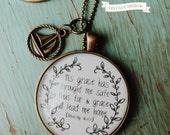 Amazing Grace Necklace- Tis Grace Necklace, Vintage Brass Cabochon Necklace