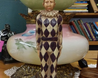 Vintage Joker Ceramic and Brass Candle Holder Philiphines