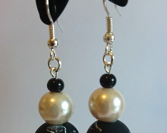 Black and White Bead Earrings
