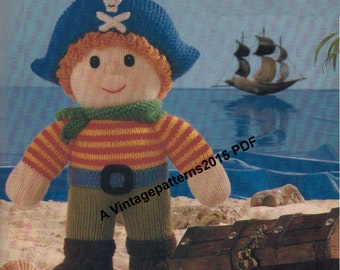 Jolly Roger Pirate Toy Knitting Pattern DK -     PDF Download