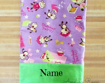 Cute Monkey Slumber Party Pillowcase, Girls Gift, Embroidered, Monogrammed, Personalized, Monkey Pillowcase,k Girls Pillowcase