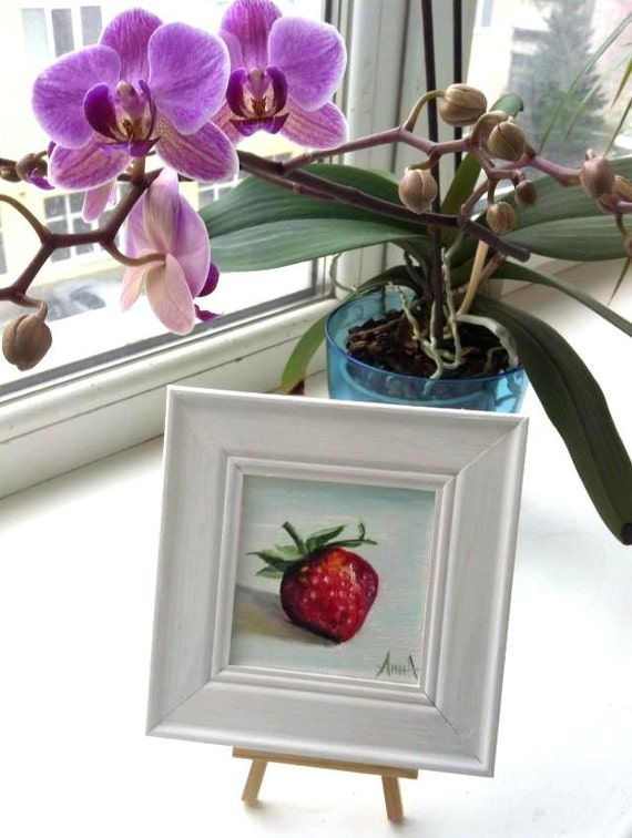 Strawberry little oil painting 4x4 10x10 cm for 10x10 kids room