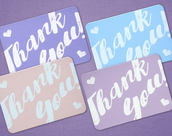 Thank You Pastel Hearts Thank You Cards - Set of 8