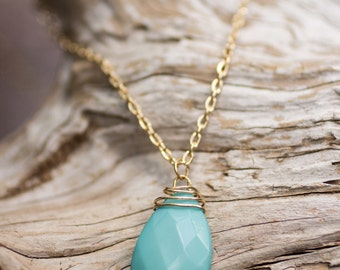Turquoise teardrop gold necklace