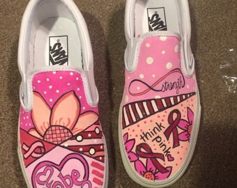 Hand painted custom breast cancer awareness shoes