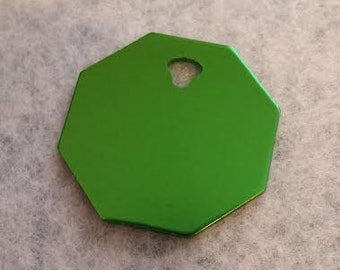 Pet ID Tags, Dog Tags, Cat Tags, Engraved Pet ID Tags, Large Green Octagon Tag
