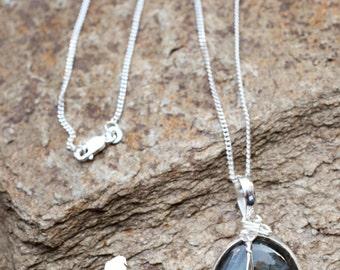 Rescue Jewels Labradorite Pendant with Cat Charm Necklace
