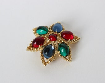 Small Gold Tone Colourful Glass Bead Brooch/Pin