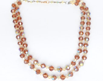 Vintage 1950s Two Strand Aurora Bead Necklace