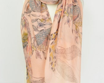 Exotic Bird Scarf/Wrap/Shawl/Sarong/Cover Up/Over Size/Coral/Blue/White/Parrot/Bird of Paradise