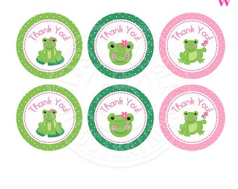 Spring Frogs Printable Party Favor Tags, Cupake Toppers, Printable Girl Frog Party Favors, Frog Thank You Tags, circle gift tags
