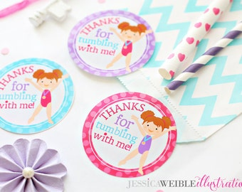 Brunette Girls Gymnastics Printable Party Favor Tags, Cupake Toppers, Printable Gymnastic Party Favors, Thanks for Tumbling with Me, Gymnast