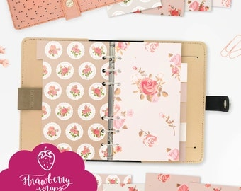 Planner dividers | Shabby roses | Personal size | Fits medium KikkiK and Personal size Filofax | Planner printable download | Organ