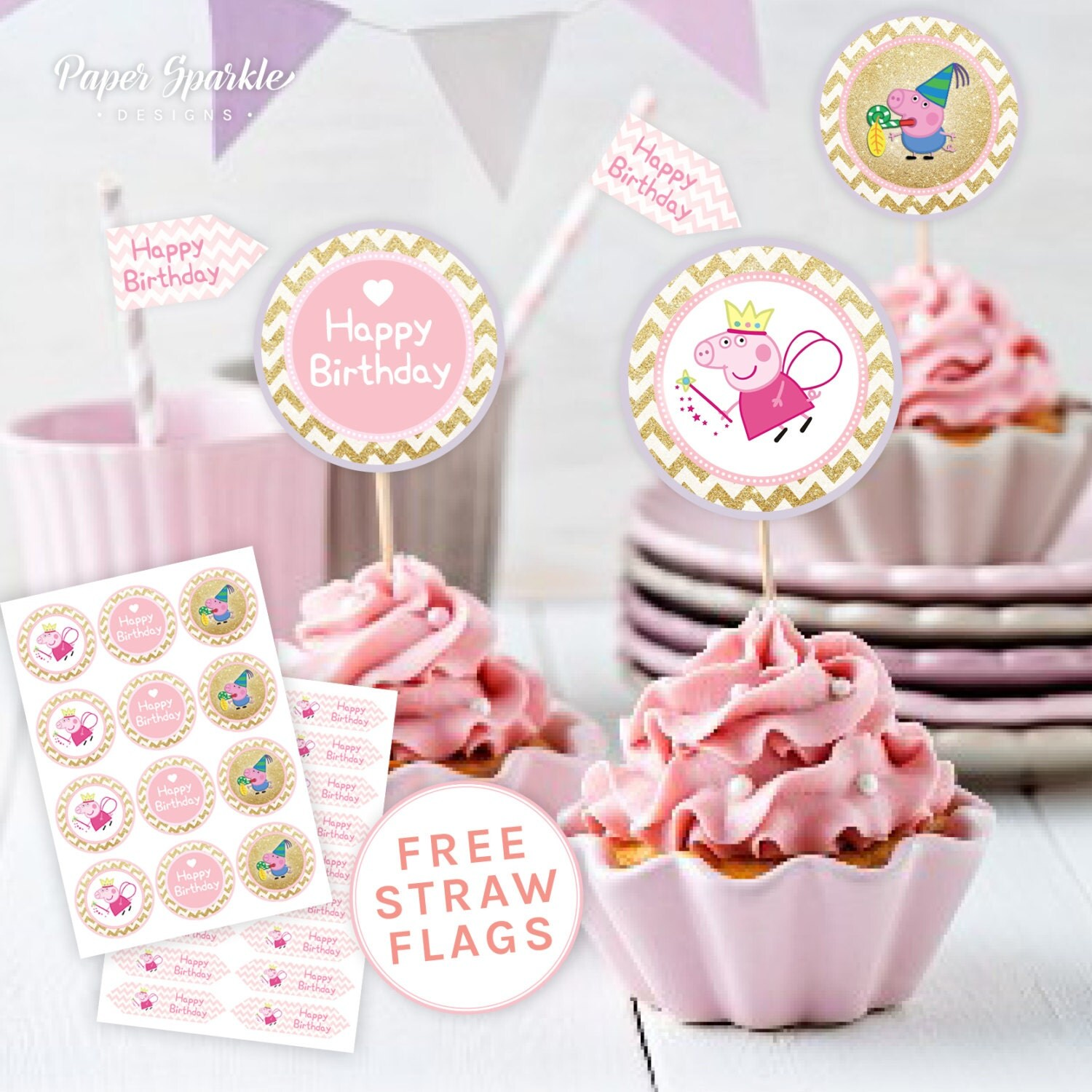 Peppa pig printable cupcake toppers Peppa by PaperSparkleDesigns