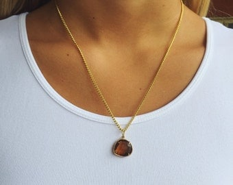 Gold Agate Charm Necklace