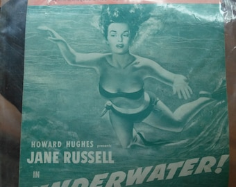 Vintage music sheet,1950 music sheet, old music sheet,collectible music sheet, underwater music sheet,