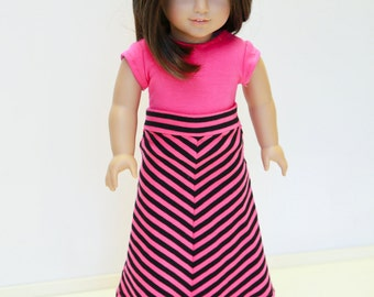 American made Girl Doll Clothes, 18 inch Girl Doll Clothing, Mitered Maxi Skirt, Hot Pink Top made to fit like American girl doll clothes