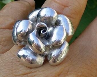 Sterling silver flower ring 925, sterling rose, rose ring, silver ring, large sterling ring, Ring size US 7,5 Ring size EU 18