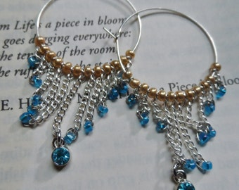 Blue and Gold Dangle Hoop Earrings